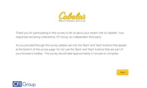 Tell Cabela's Retail Survey – www.Cabelas.com/RetailSurvey
