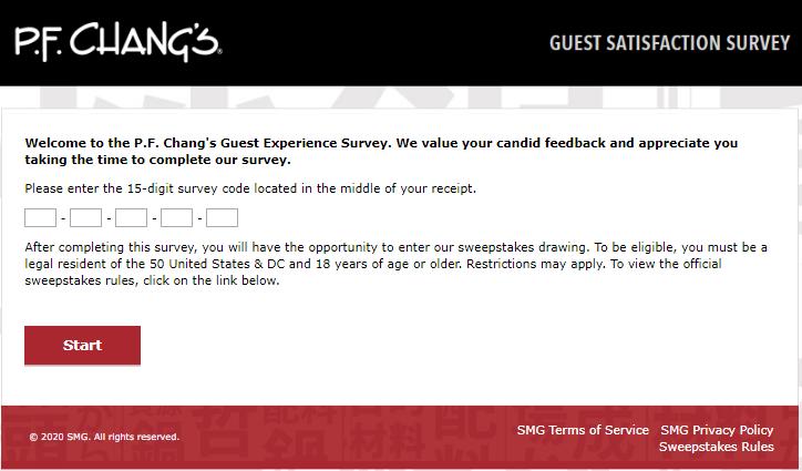 PF Changs survey homepage