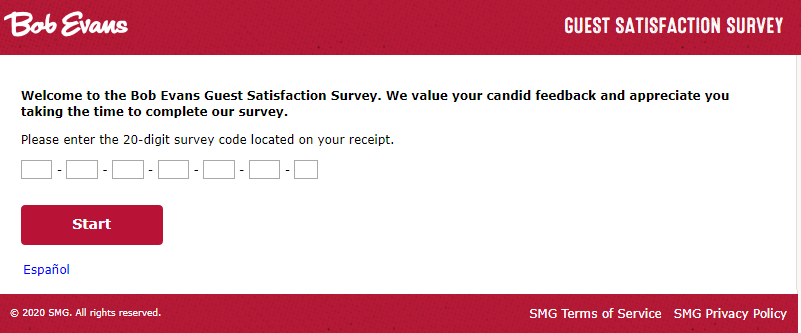 bob evans survey homepage