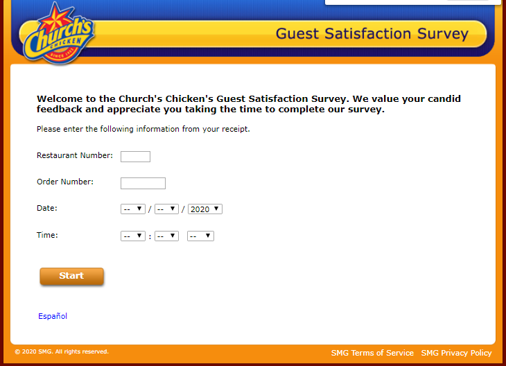 churchs chicken survey homepage