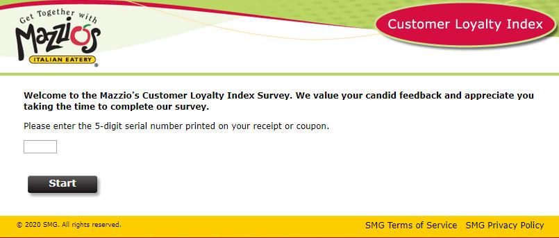 Mazzios Survey homepage