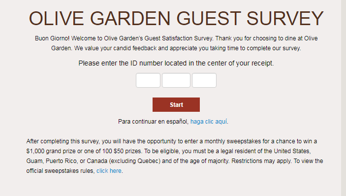 olive garden survey homepage