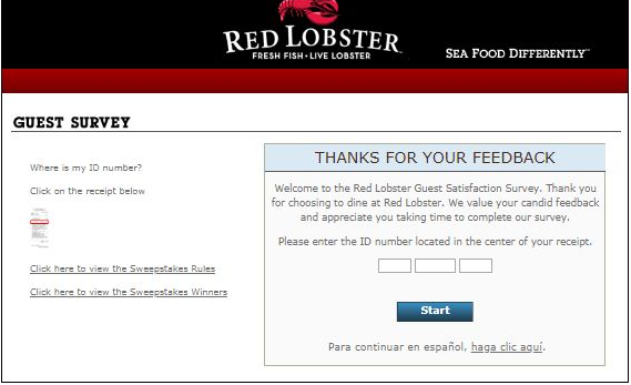red lobster survey step1