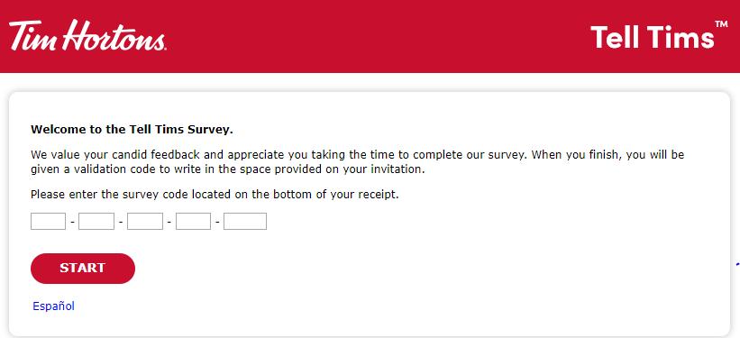 tim hortons survey homepage