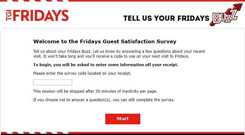 TGI Fridays survey homepage