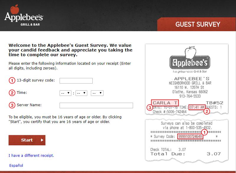applebees survey homepage