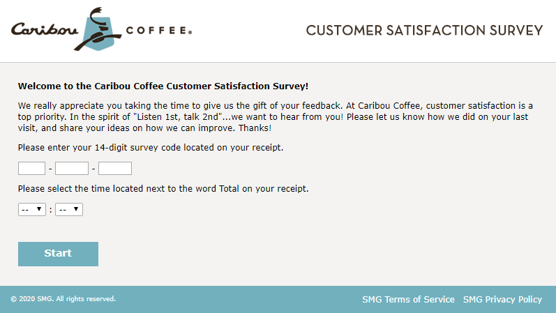 caribou coffee survey homepage