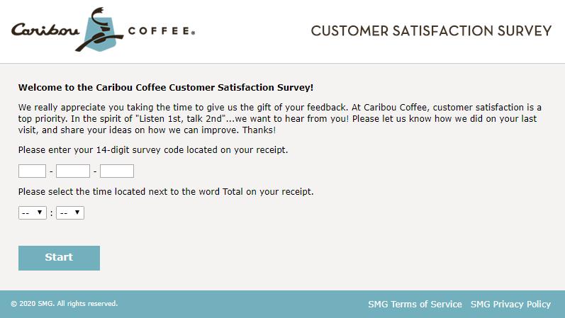 caribou coffee survey homepage