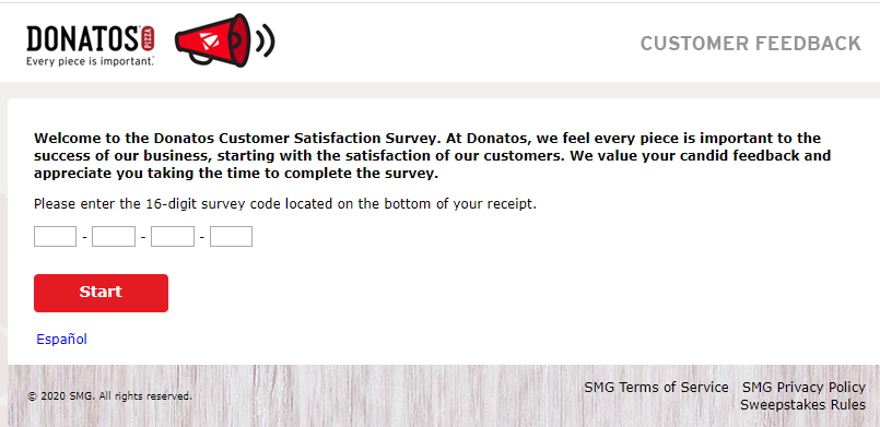 donatos survey homepage