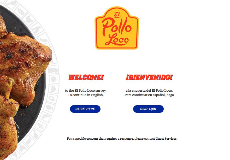 el pollo loco survey homepage