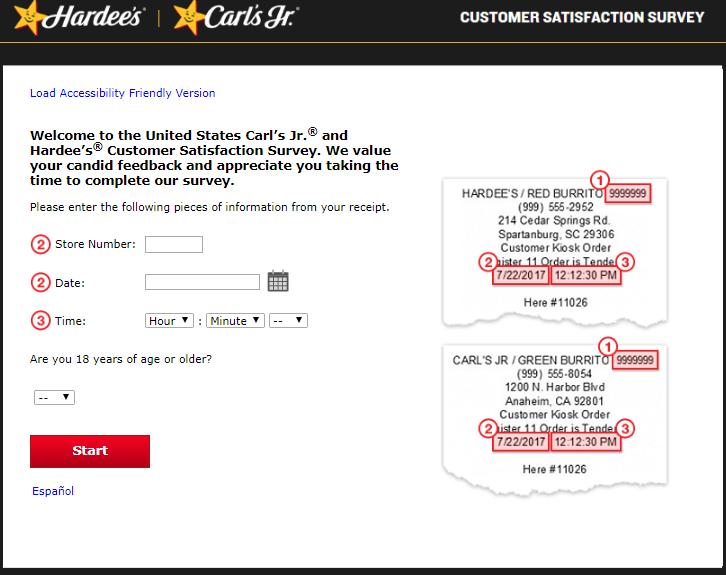 hardees survey homepage