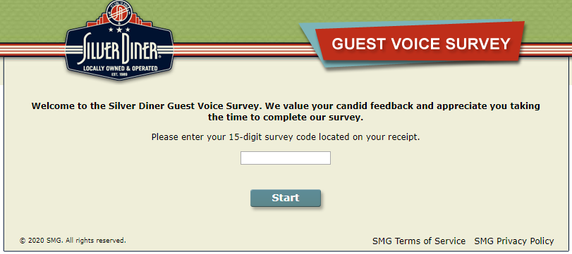 silver diner survey homepage