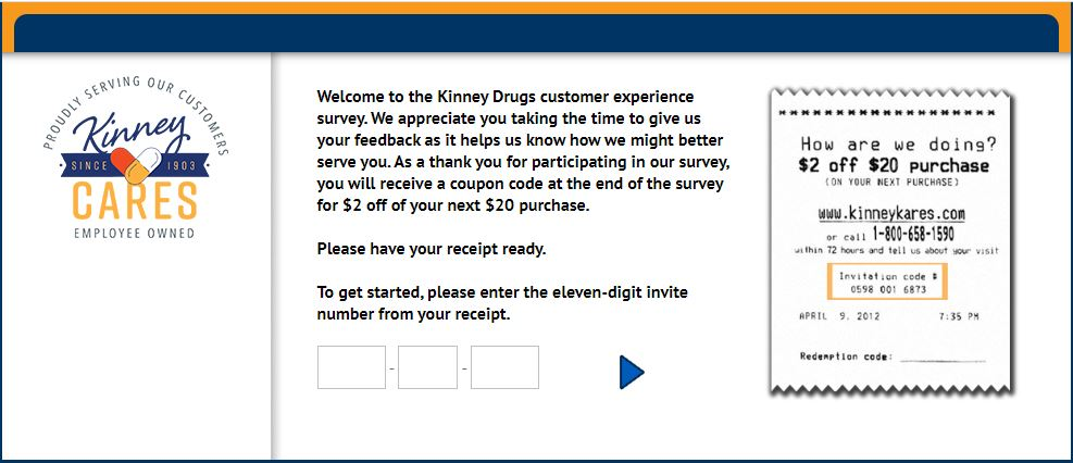 Kinney Drugs Store survey homepage