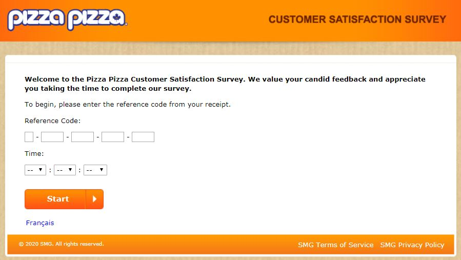 Pizza Pizza Survey Homepage