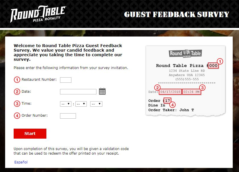 Round Table Pizza Survey Homepage