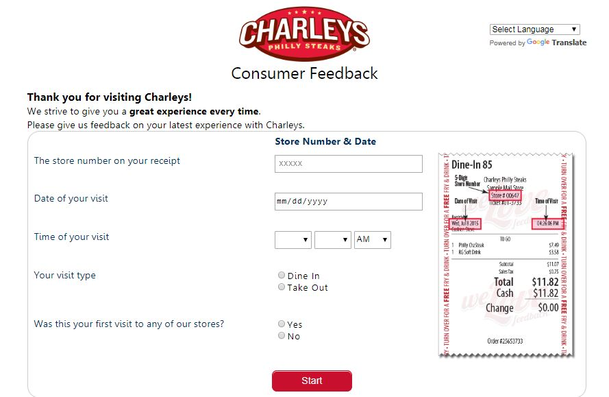 TellCharleys Survey Homepage