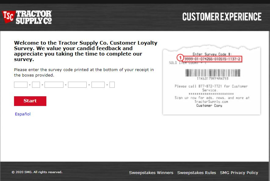 Tractor Supply Survey Homepage