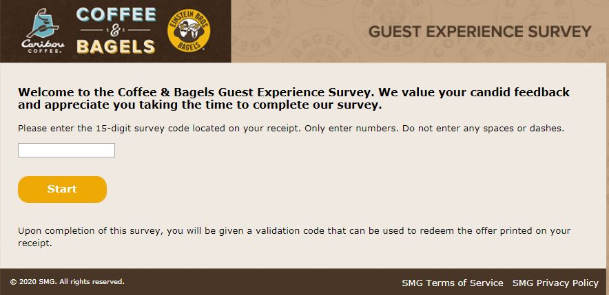 coffee and bagels survey homepage